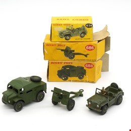 Three Vintage English Dinky Toys 674 Austin Champ, 686 25 Pounder Field Gun, 688 Field Artillery Tracker in Original Boxes