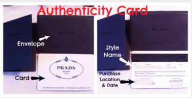 Prada Handbag Authenticity Card