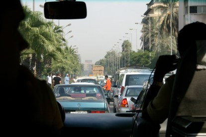 A busy roadway in Cairo