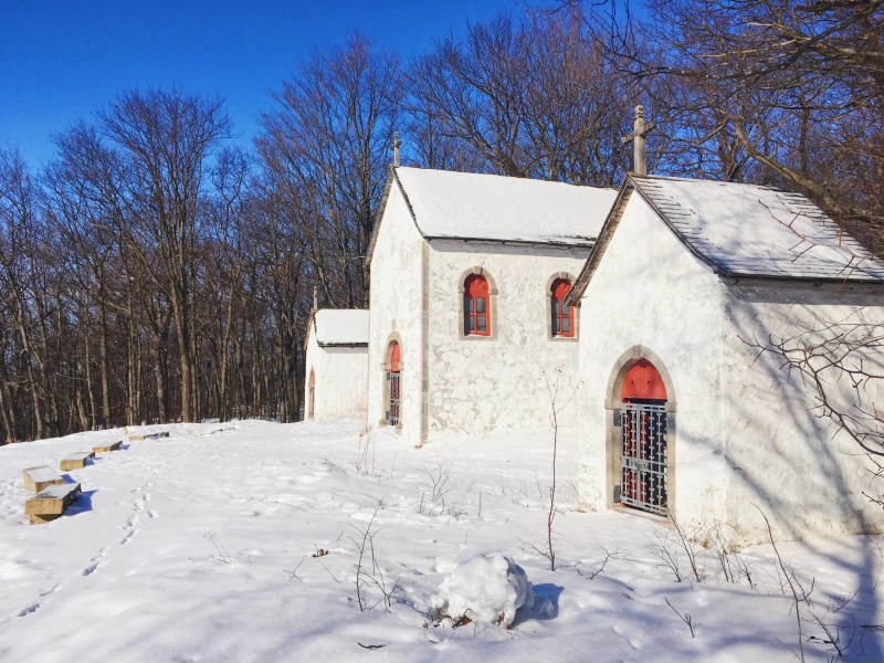 The Calvaire Trail is a Way of the Cross which was built in 1740 on the hill of Oka to teach the Passion of the Christ to Native people converted to Catholicism. It is now part of Oka National Park.