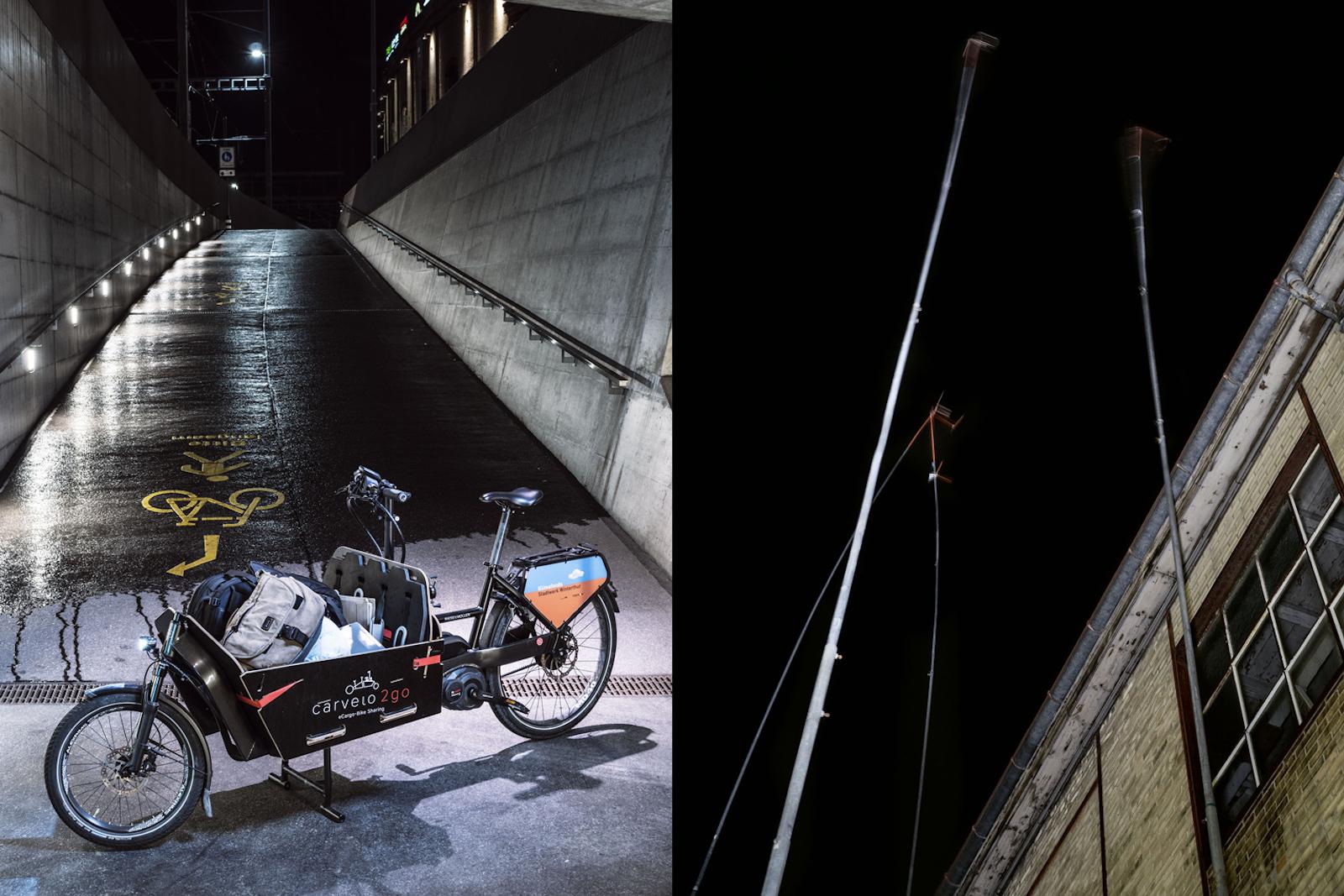Carvelo2go est synonyme d'eCargo-Bike en libre partage à Winterthour mais aussi dans d'autres villes. L'offre est similaire à celle du prestataire automobile mobility: le vélo de transport, dit «Carvelo», se loue à l'heure (à gauche). D'anciens sites industriels sont réhabilités. Le siège de la Haute école de sciences appliquées ZHAW de Zurich, à Winterthour, se trouve par exemple partiellement sur un ancien terrain de Sulzer (à droite). (Robert Huber)