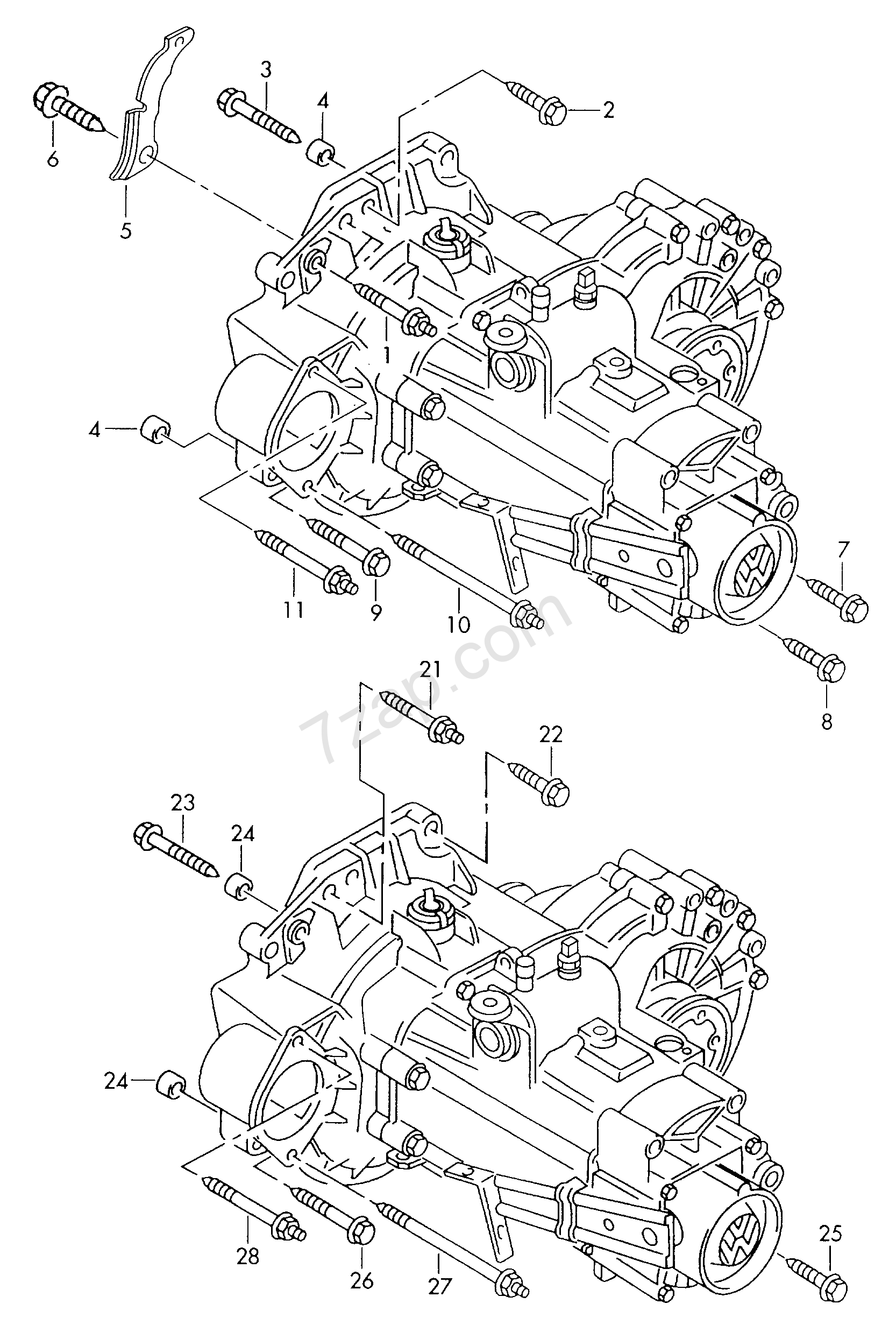 Mounting Parts For Engine And Transmission 5 Spe Audi