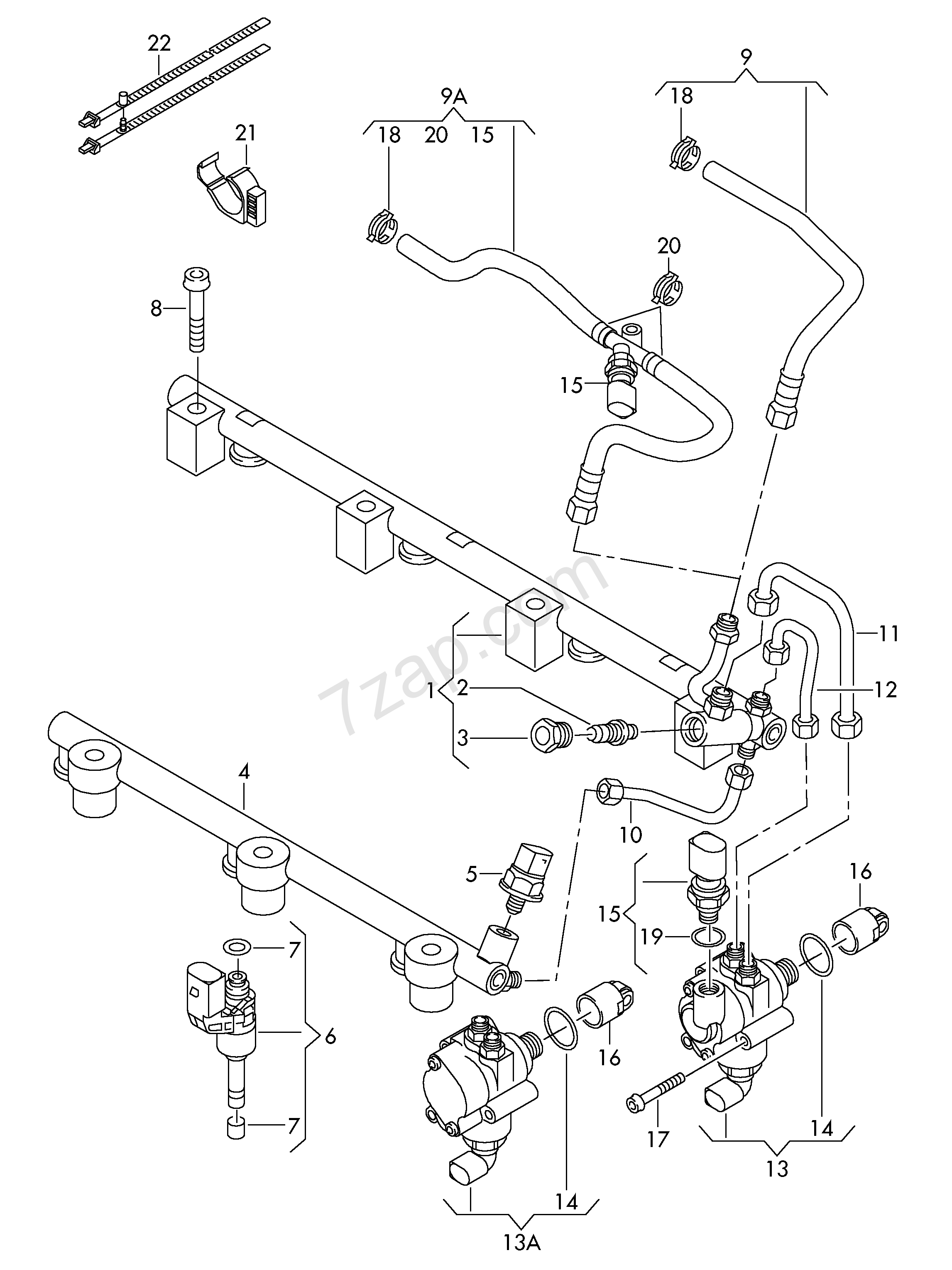Fuel Rail Fuel Pump Injection Valve Audi Q7 Aq7