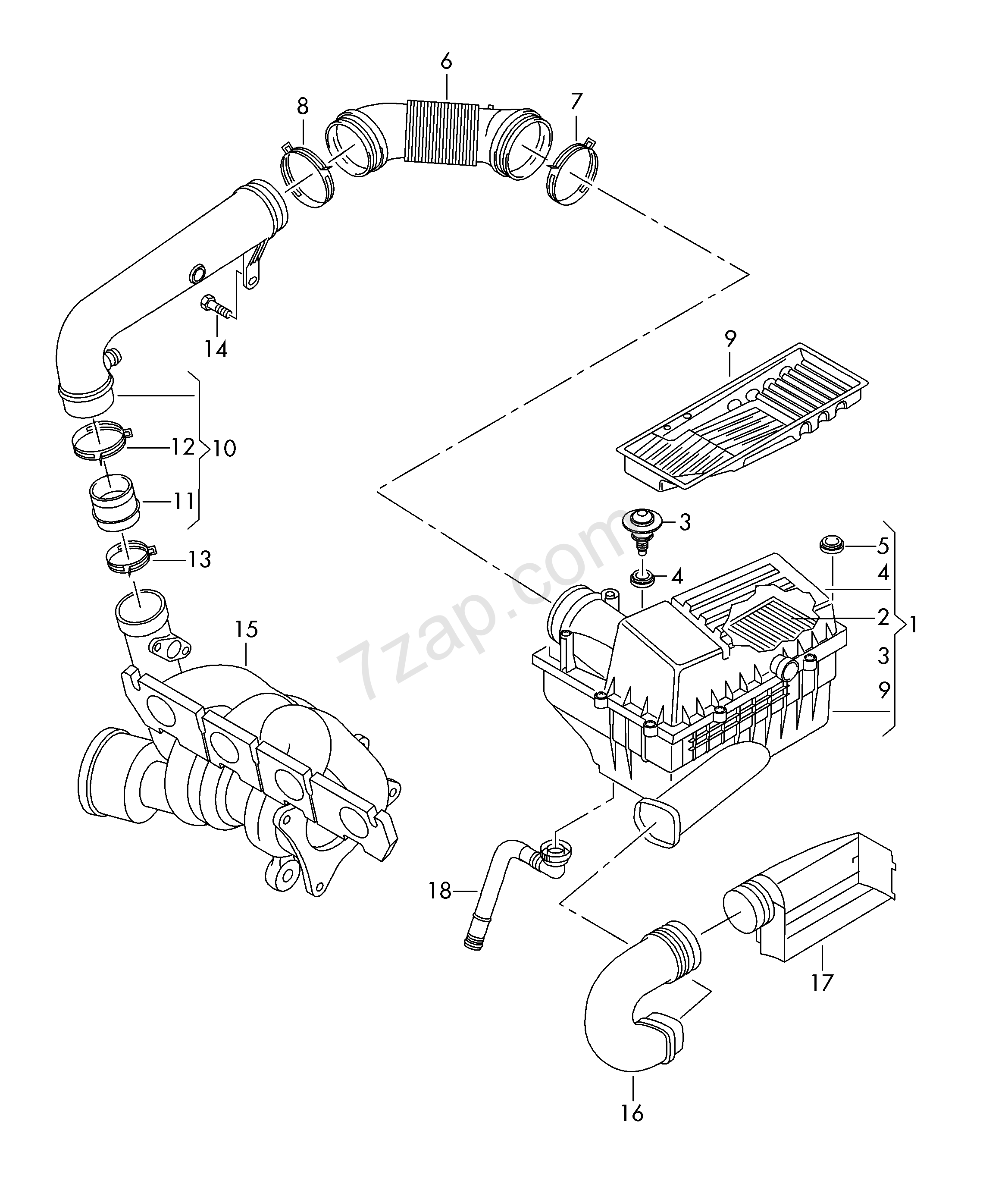 Air Filter With Connecting Parts Audi Q3 Aq3 Year