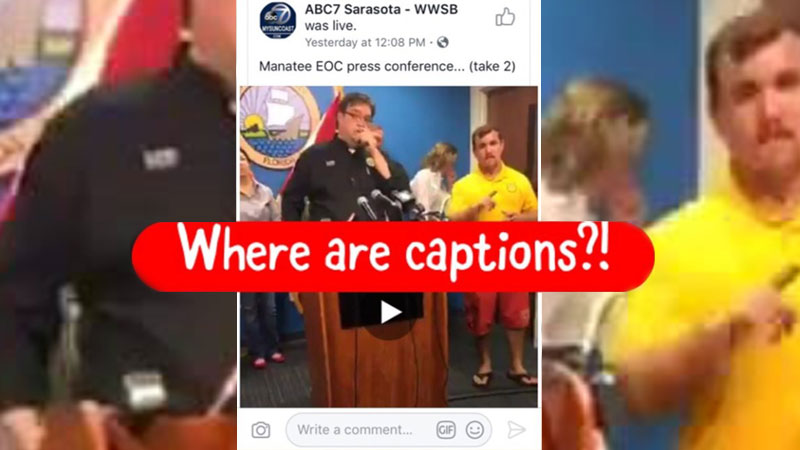 """Red bar saying """"Where are captions?!"""" on a viral video about a not qualified interpreter in an yellow shirt during an emergency announcement about Irma"""