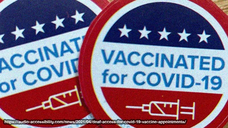 Two round stickers in red, blue, white colors overlapping each other. 5 stars on top, words in middle: Vaccinated for covid-19, a syringe icon on bottom.
