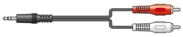 SkyTronic Audiokabel: 2x RCA / Tulp - 1x 3.5mm Jack 2.5m
