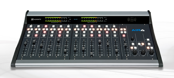 A digital mixing board, the Wheatstone AIR-4, chosen because it has a lot of buttons.