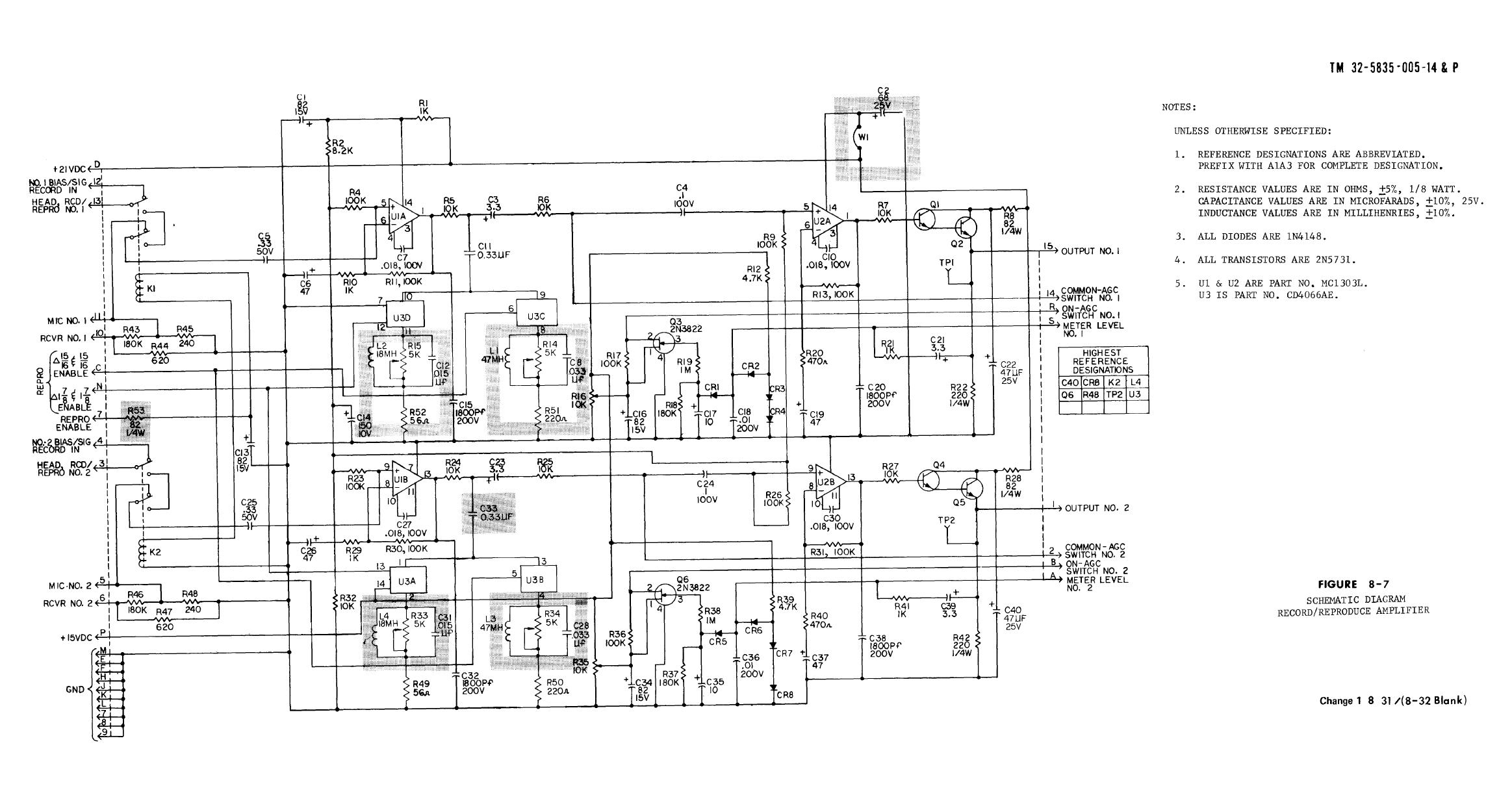 Figure 8 7 Schematic Diagram Record Reproduce Amplifier