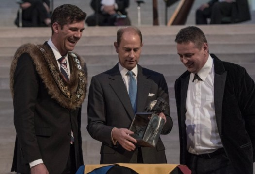 Edmonton Mayor Don Iveson, HRH Prince Edward, Slavo Cech with Bison presentation piece © Slavo Cech Used with permission.