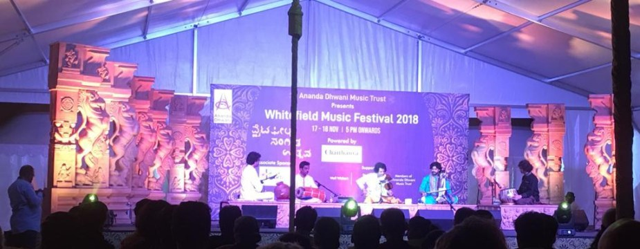 Dr. Mysore Manjunath performing along side Ustad Murad Ali Khan at Whitefield Music Festival on Nov 17, 2018.