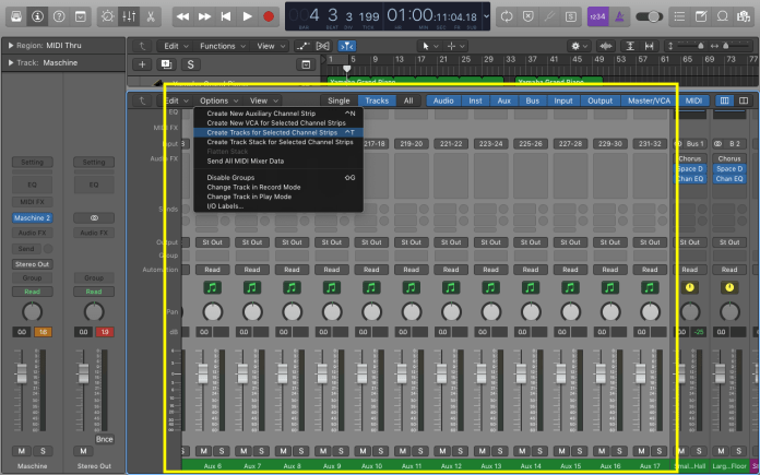 Select the Maschine track and 15 aux tracks and click Options and select create tracks for selected channel tracks