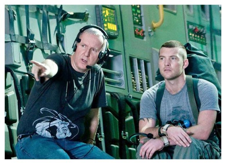 James Cameron y el actor principal de Avatar Sam Worthington durante el rodaje