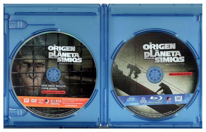 """Estuche abierto del BD de """"El Origen del Planeta de los Simios"""" (2011)"""