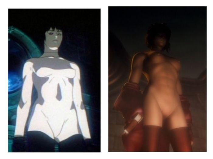 """""""Ghost in the Shell"""" a la izquierda la protagonista del año 1995 y a la derecha la misma escena con la protagonista mejorada en la versión 2.0"""