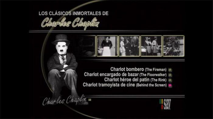 """Menú de uno de los DVD de """"Los cortos de Chaplin"""" 1914-1917 (Volumen 1)"""