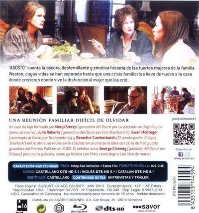 AGOSTO (2013) contraportada del Blu-Ray