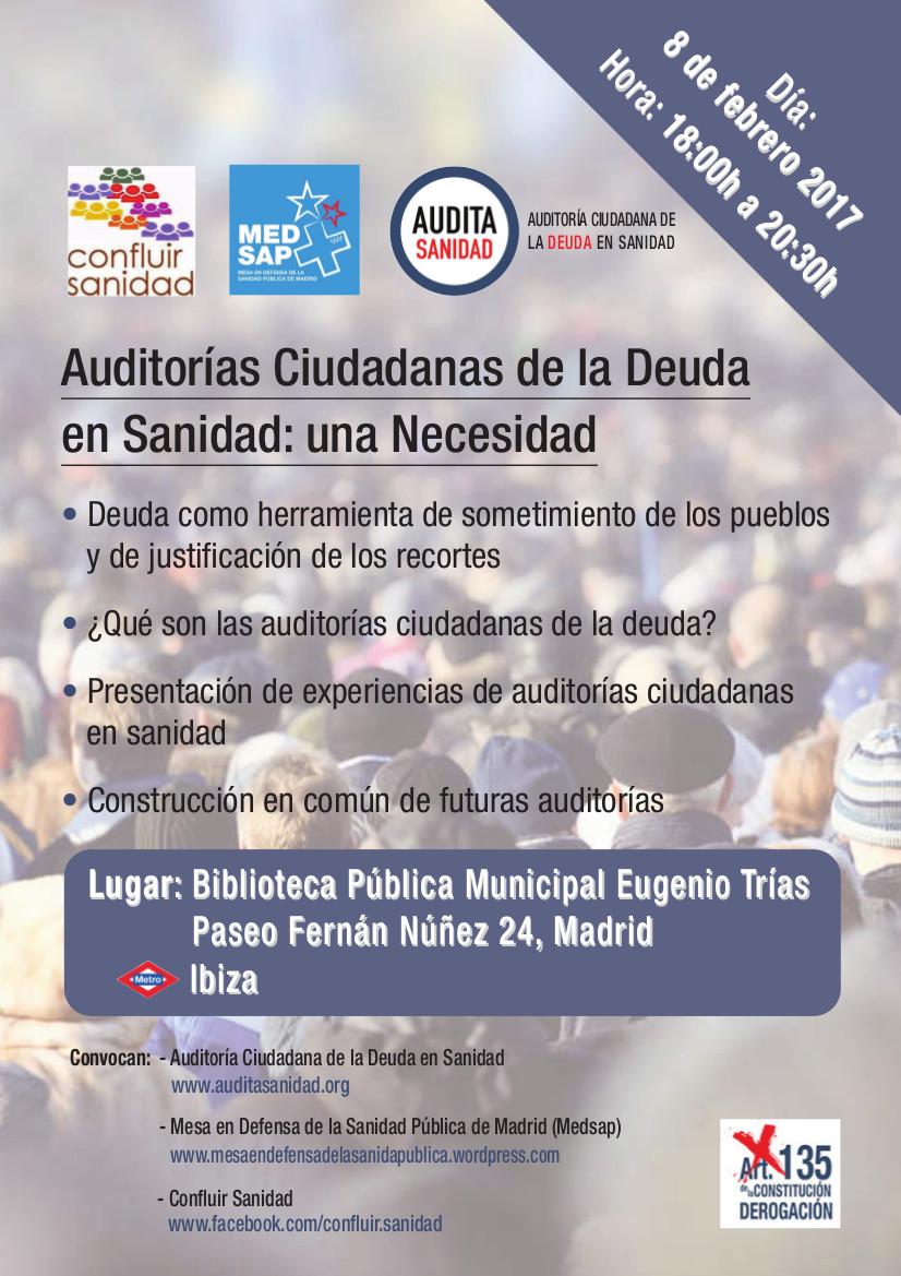 Auditorías Ciudadanas De La Deuda En Sanidad: Una Necesidad – 08/02/2017 – Biblioteca Pública Eugenio Trías