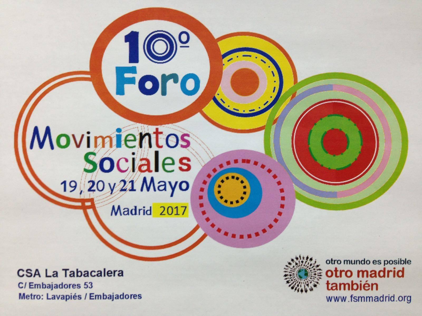 Foro De Movimientos Sociales De Madrid – 19/20/21-05-2017