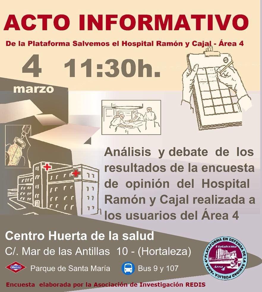 Acto De La Plataforma Del Área 4 En Defensa Del Hospital Ramón Y Cajal – 04/03/2018