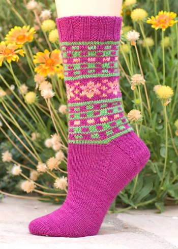knitting, sock, fair isle, sock patttern, knitting pattern, Lorna's Laces, Mary's Garden