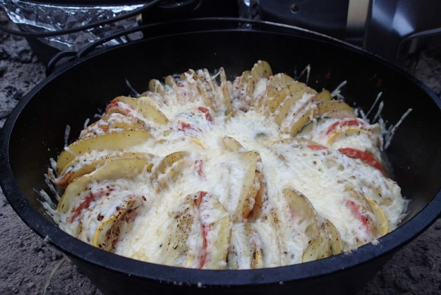 Dutch oven summer vegetable tian. Simply delicious.