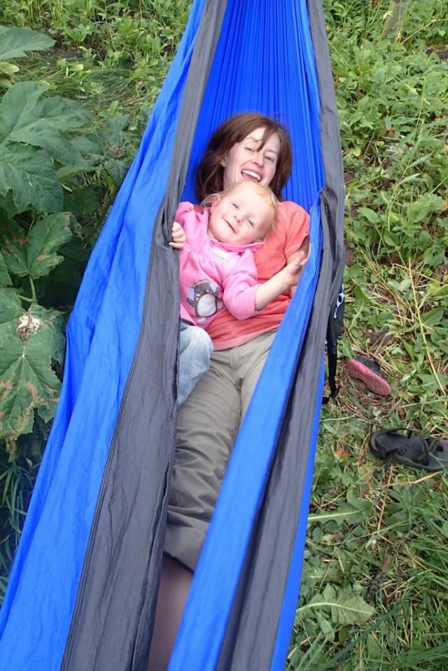 """""""Relaxing"""" in the hammock."""