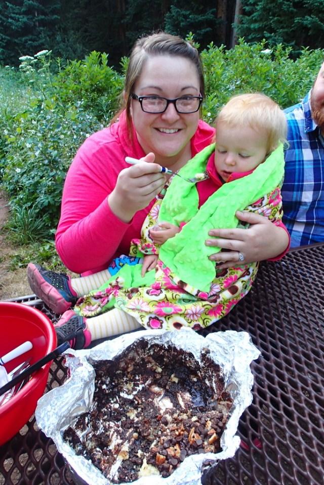 Aunt Vanesa Joy feeding Ellen cake for breakfast.