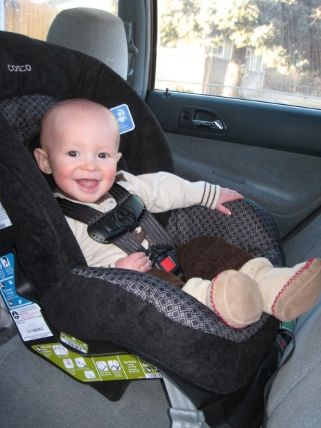 Baby Cooper riding in style.
