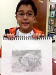 Parker, age 7 with his graphite drawing.