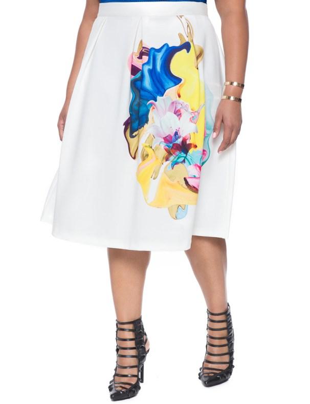 Eloquii Placed Print Cocktail Skirt