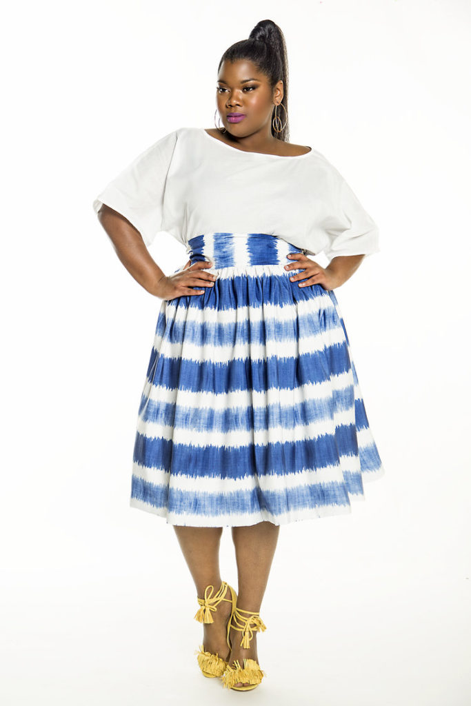 Wanna Wanna Wednesday: High Waist Blue Wave Flare Skirt from Jibri