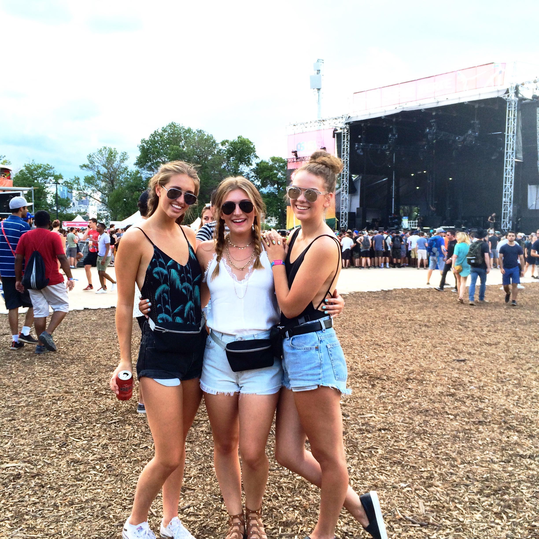 three girls at Osheaga music festival