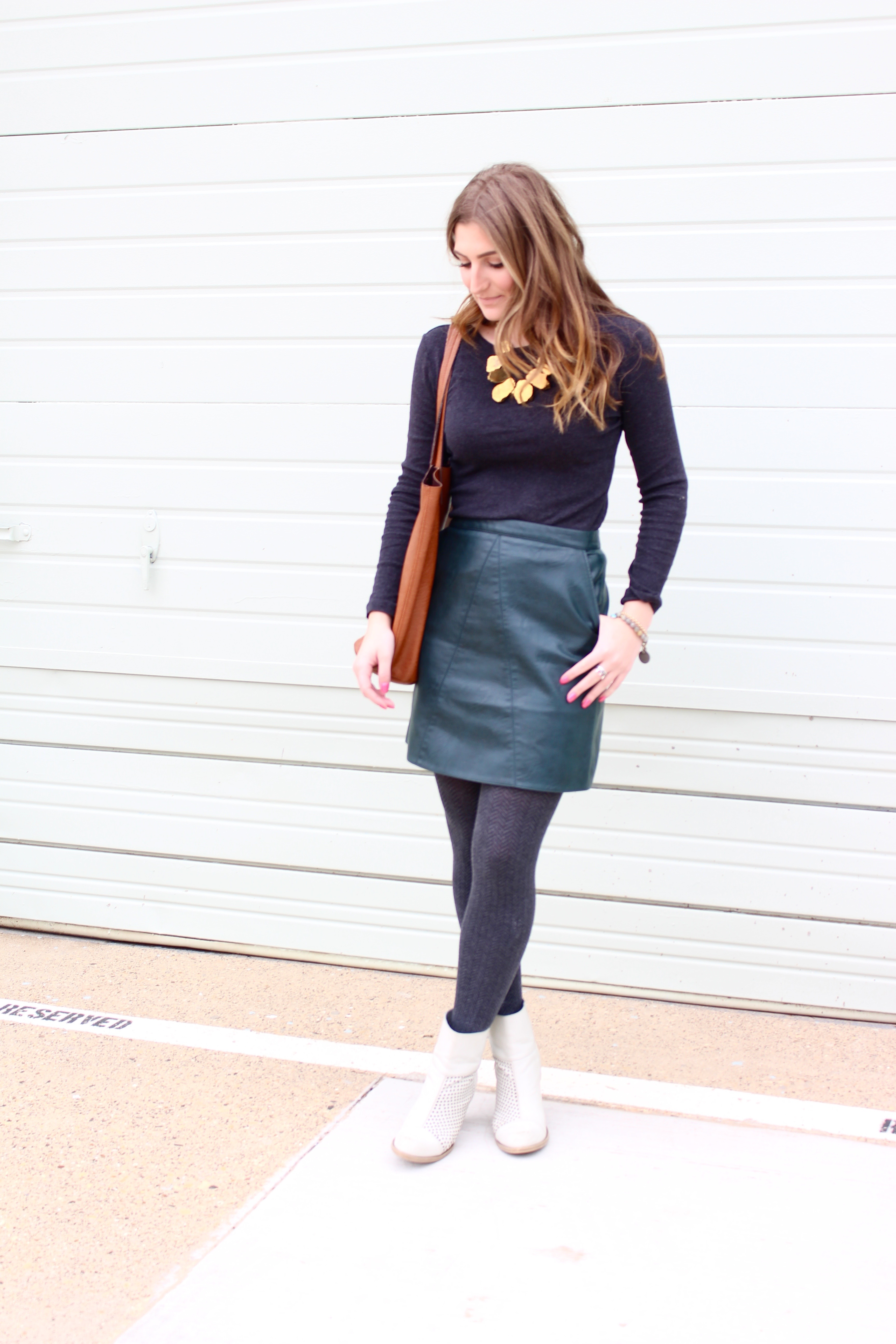 zara leather skirt super affordable - Green Leather Skirt by popular Texas fashion blogger Audrey Madison Stowe
