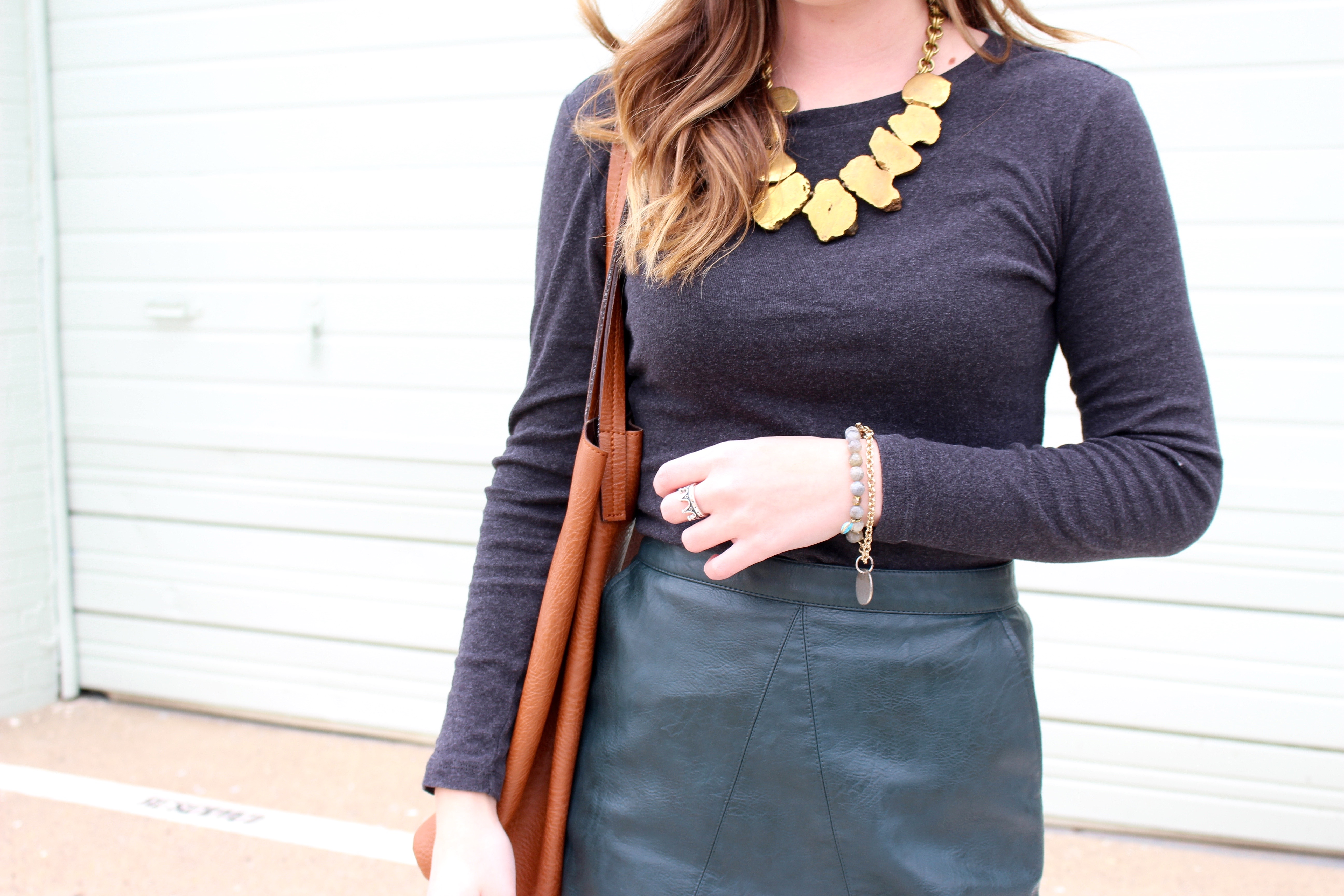 green leather versatile skirt - Green Leather Skirt by popular Texas fashion blogger Audrey Madison Stowe