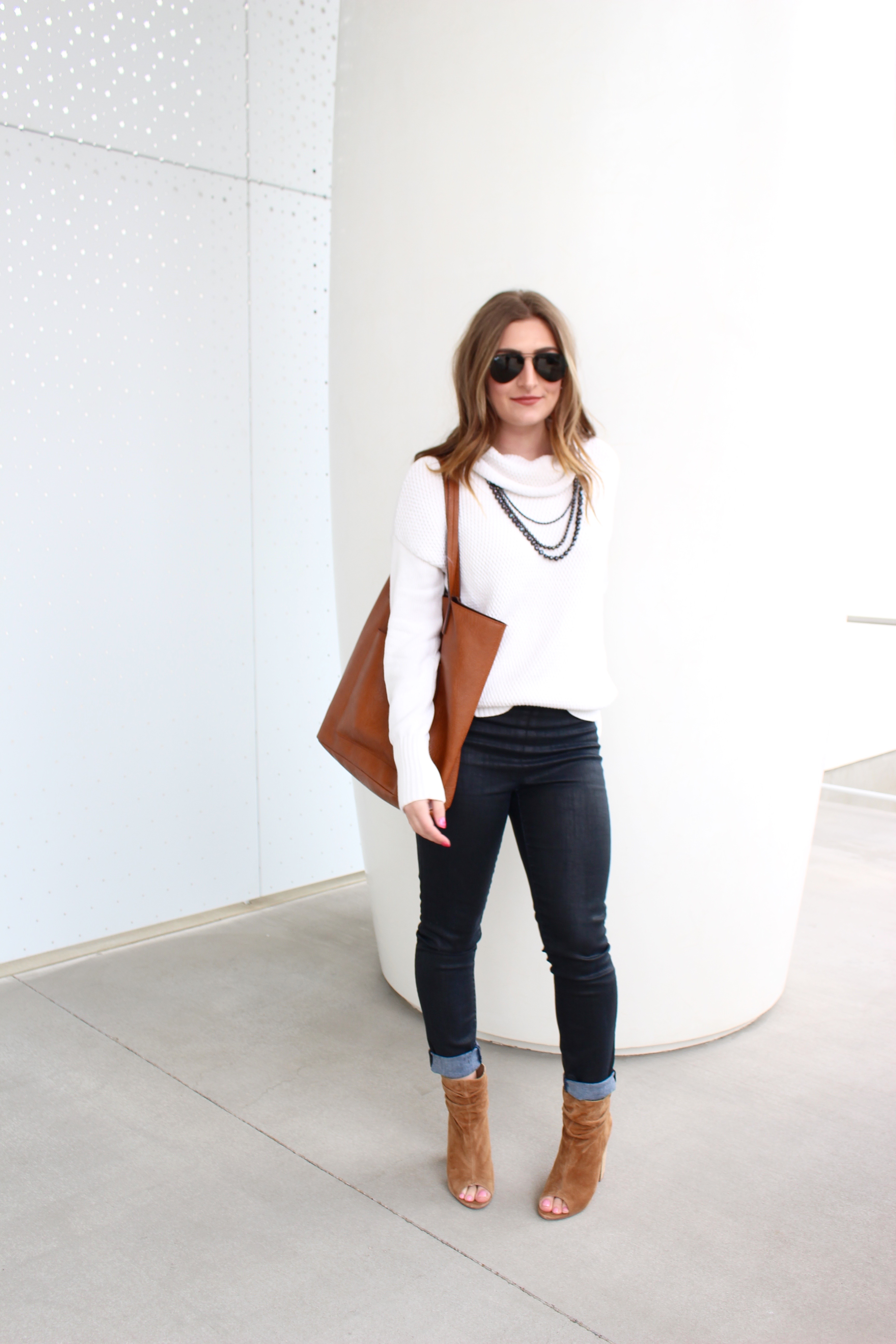 dallas chic with white turtleneck