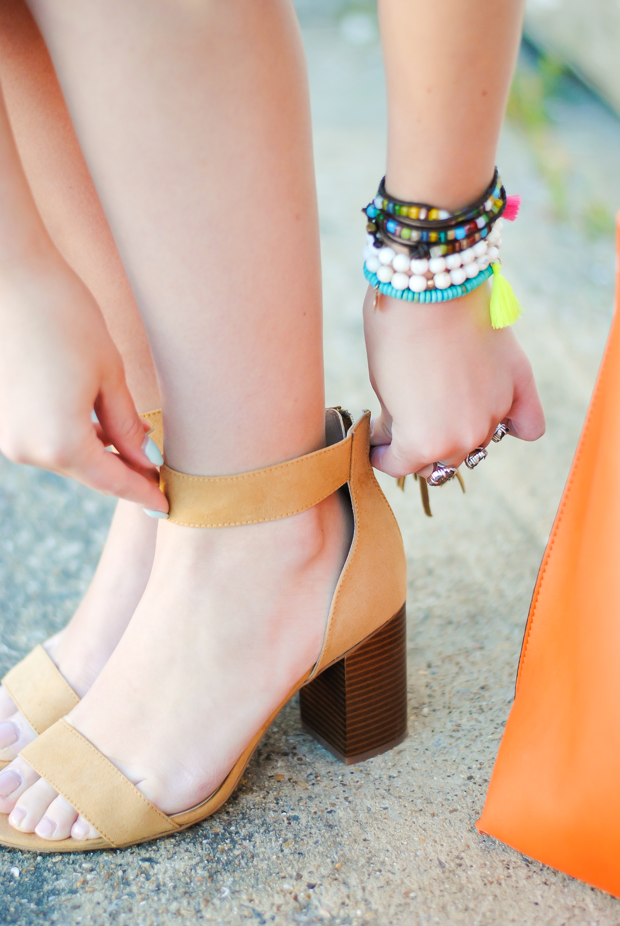 asos beige shoes and spring arm stack