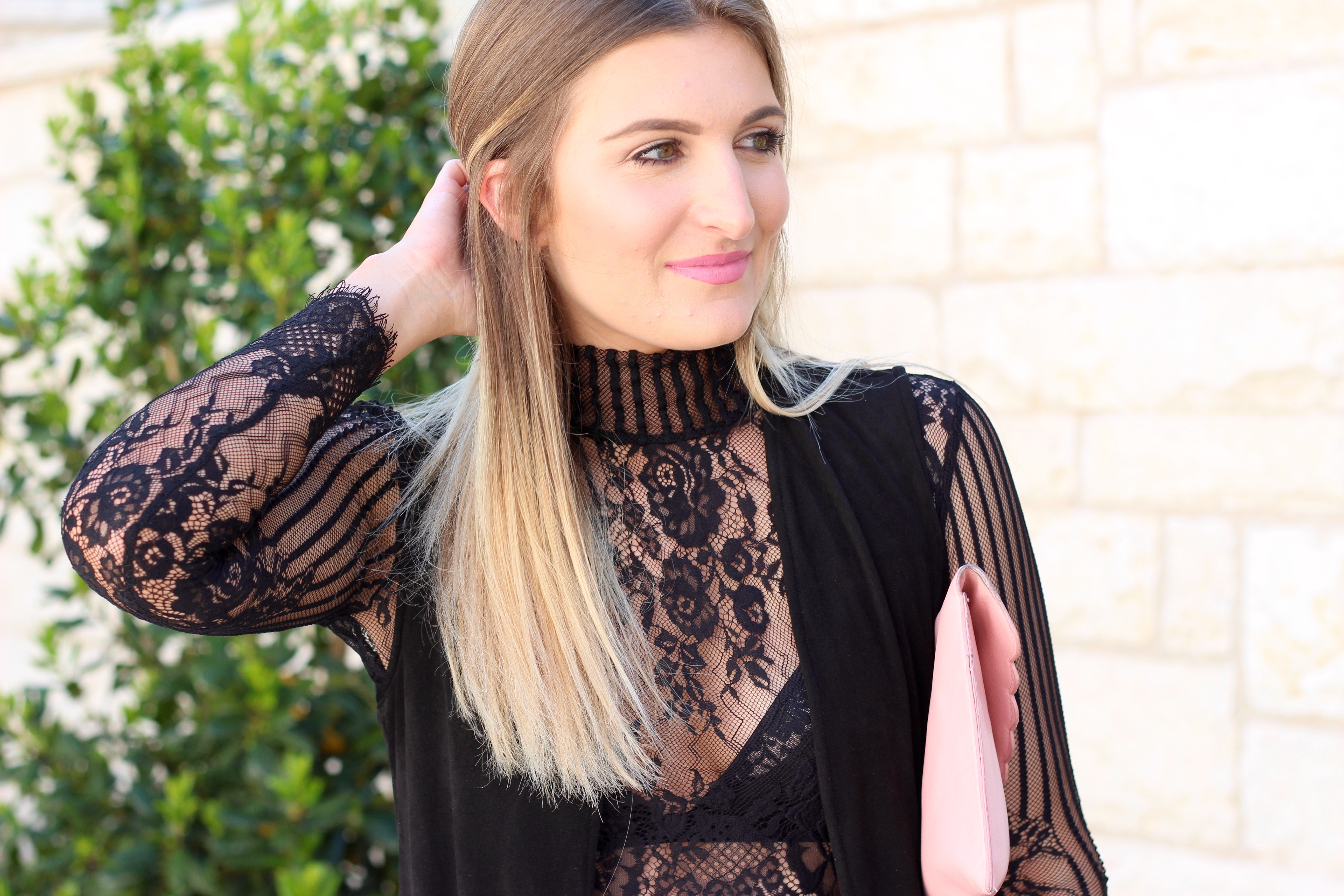 lace crop top details - Lingerie Outfit By Day by popular Texas fashion blogger Audrey Madison Stowe