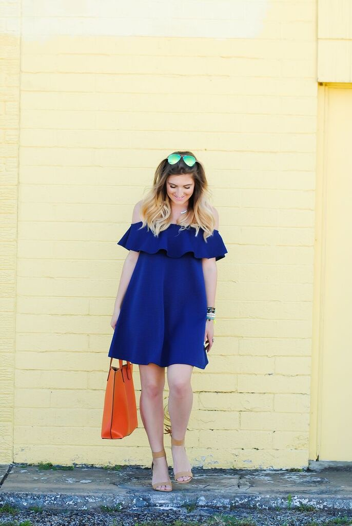 blue dress and bright wall details