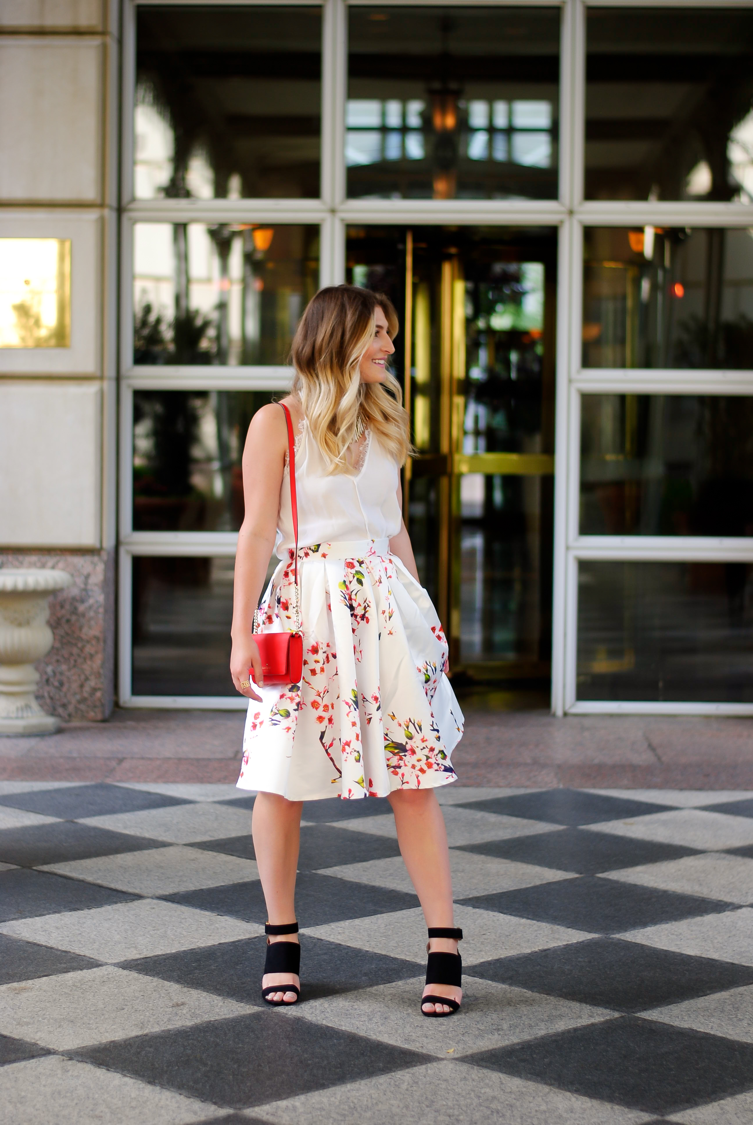 spring/summer floral skirt look | Audrey Madison Stowe Blog