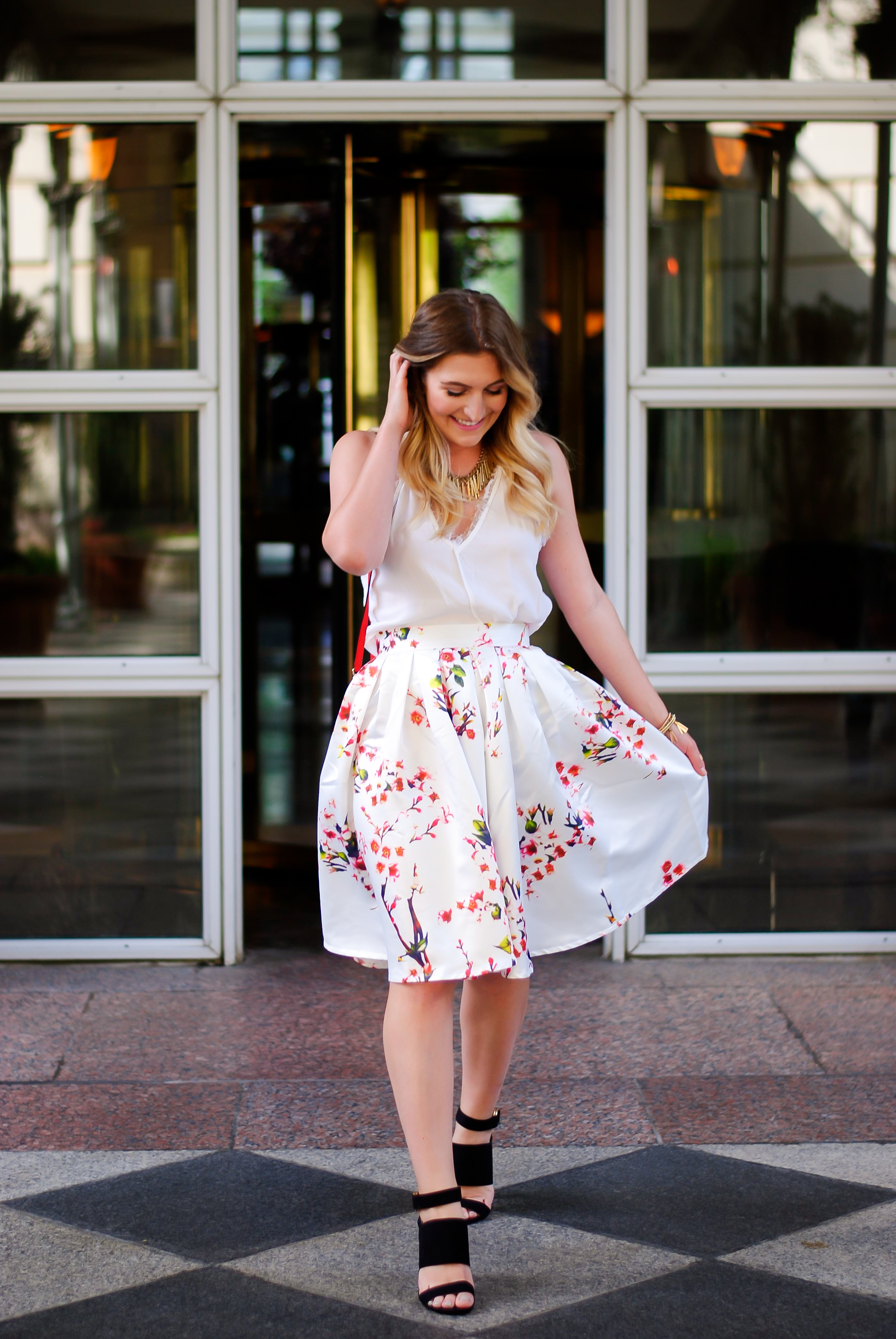 dreamy floral midi skirt | Audrey Madison Stowe Blog