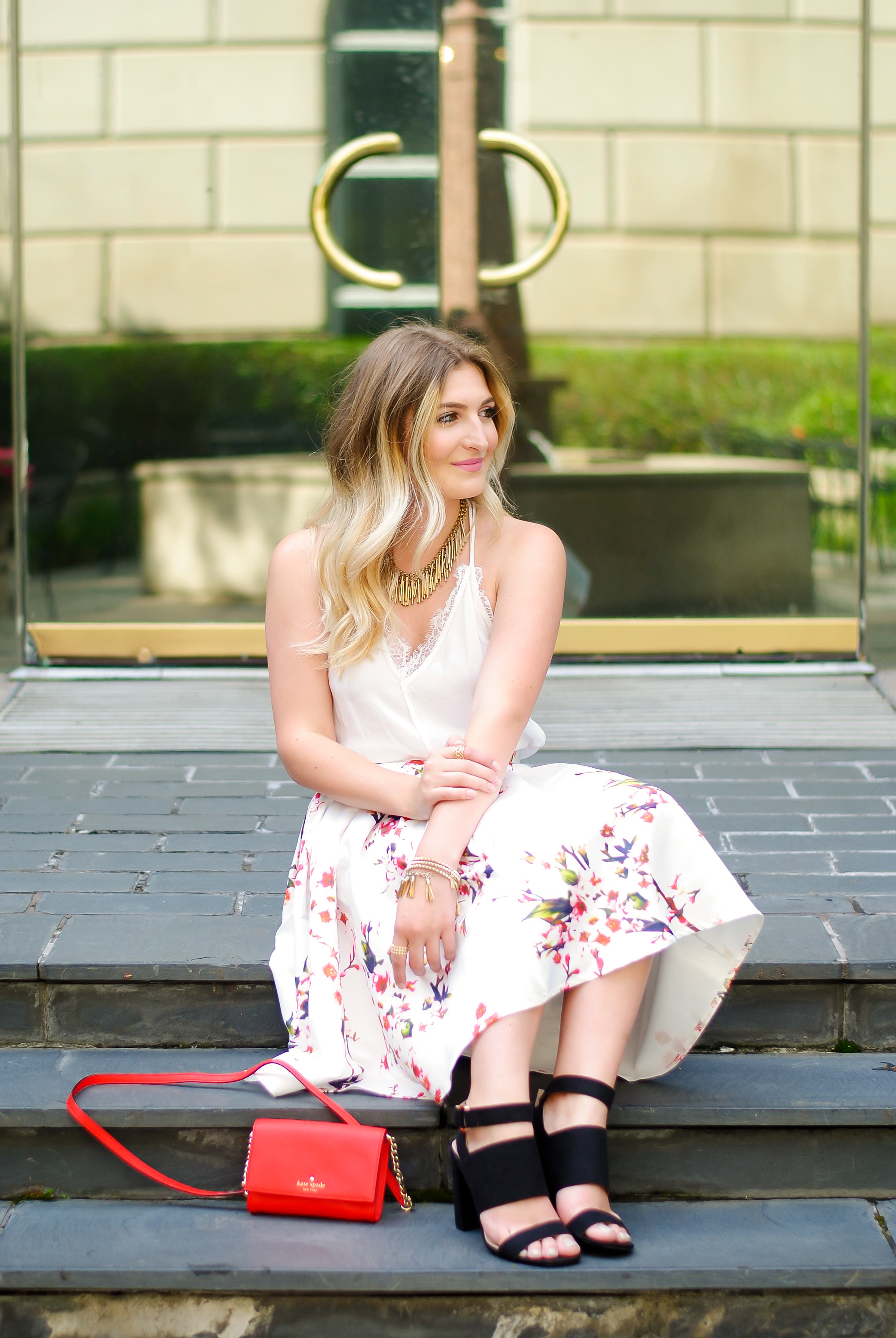 SheIn floral midi skirt look | Audrey Madison Stowe Blog