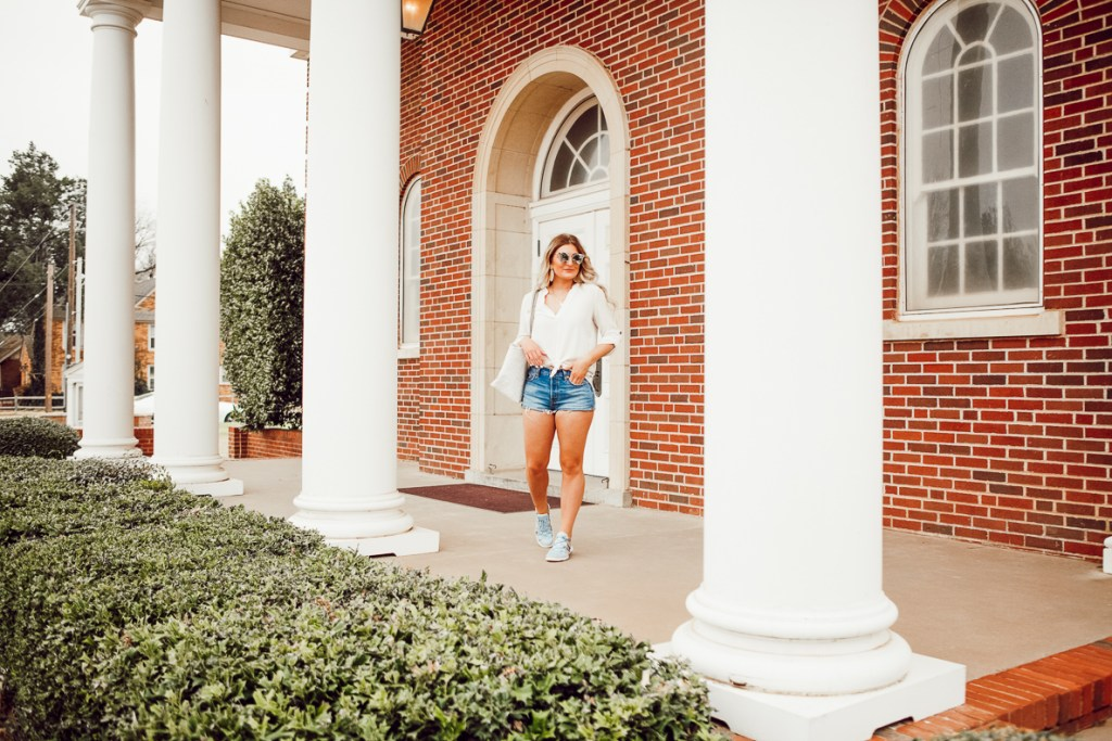 White Blouse + Sporty Flat For Every Day | Audrey Madison Stowe a fashion and lifestyle blogger - White Work Blouse styled by popular Texas fashion blogger Audrey Madison Stowe