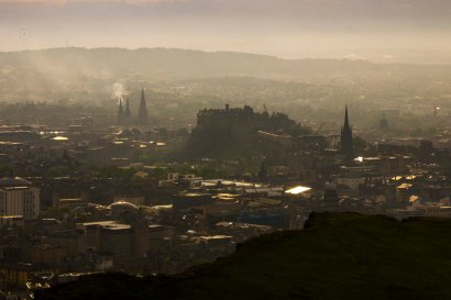 After going through rain and wind shone the sun while going up Arthur's seat