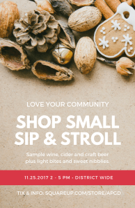 shop small sip and stroll poster