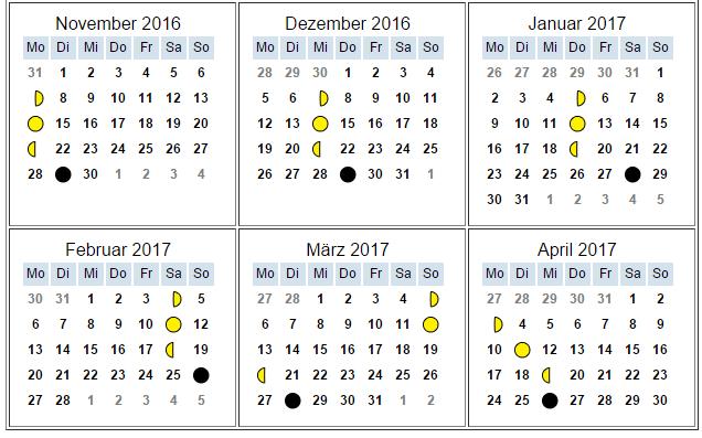 Mondkalender 2. Hälfte
