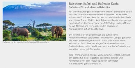Baden und Safari in Kenia