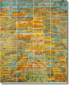 Highway Byways Tile Mural. Paul Klee. Abstract Painting Tile Mural. Our company fabricates custom floor tile murals