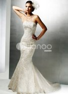 Mermaid-Trumpet-Beaded-Strapless-Satin-Lace-Wedding-Dress-6064-1