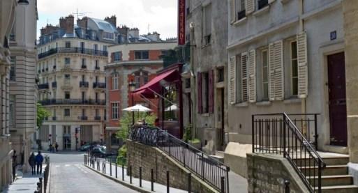 Quartier rue Mouffetard escalier Paris